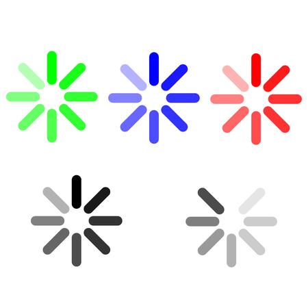 The symbol loading green blue red grey set.