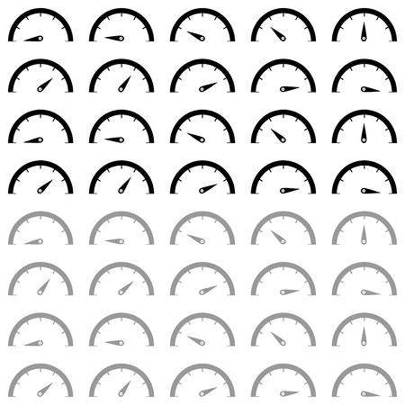 Speedometr black and grey colour icon set. Vektorové ilustrace