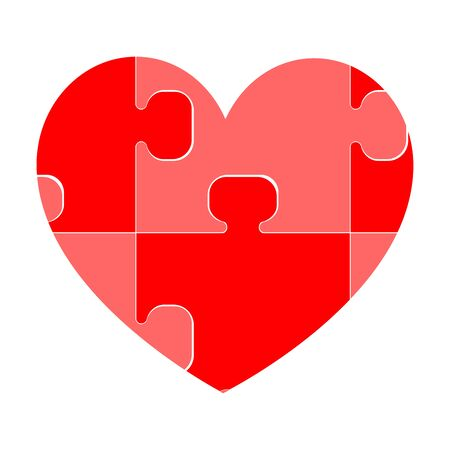 Red heart it is composed of puzzles. Illustration