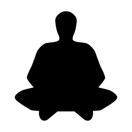 meditation man: The meditator man it is black icon.