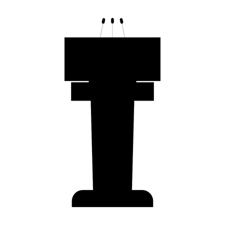 Rostrum with three microphone it is the black color icon . Illustration