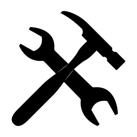 レンチとハンマーの黒い色のアイコンが表示されます。  イラスト・ベクター素材