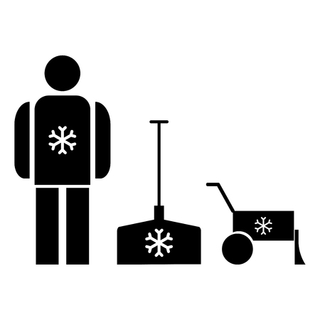 Snow removal  it is the black color icon . Illustration