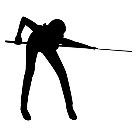 Woman playing billiards  it is the black color icon . Illustration