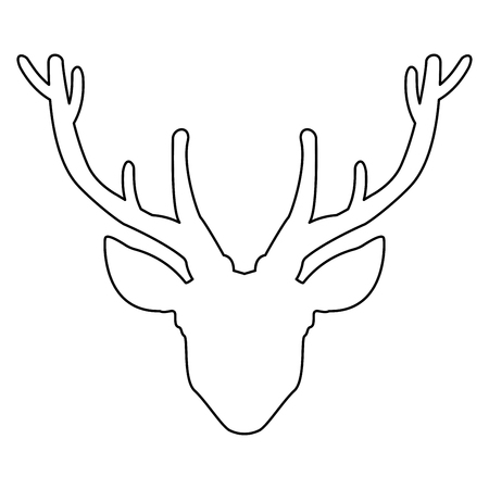 Head deer   it is the black color icon . Stock Illustratie