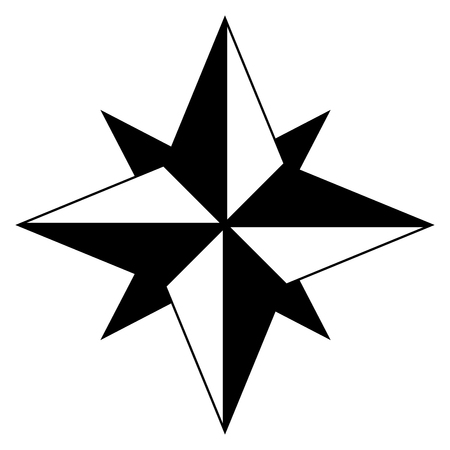 Wind rose it is the black color icon . Illustration
