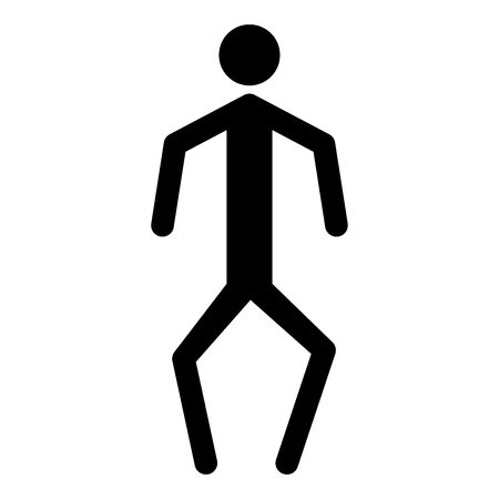crouch: A man with crooked legs it is the black color icon .