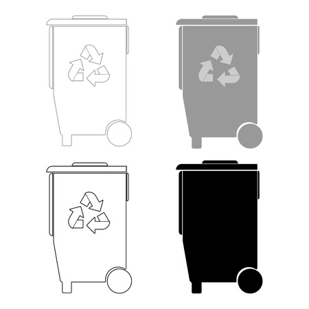 dispose: Refuse bin with arrows utilization   it is the black and grey color set icon .