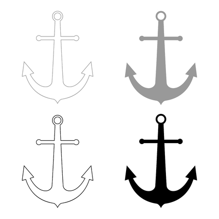 Marine anchor   it is the black and grey color set icon .