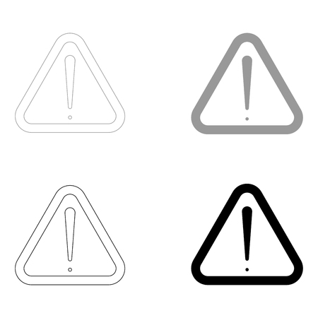 Sign of attention   it is the black and grey color set icon . Ilustrace