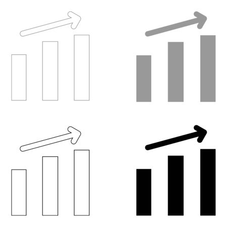 Growth chart   it is the black and grey color set icon .