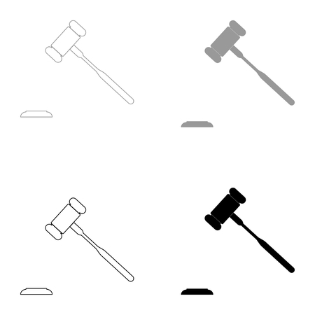 authority: The judicial hammer   it is the black and grey color set icon . Illustration