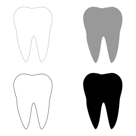 cleanliness: Tooth   it is the black and grey color set icon . Illustration