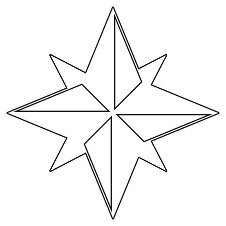 Windrose ist das schwarze Farbsymbol. Standard-Bild - 80921843