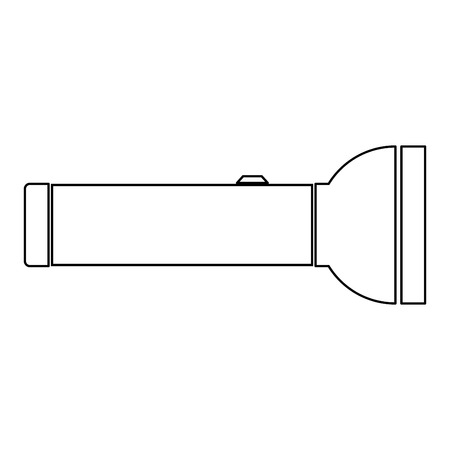 electric torch: Flashlight  it is the black color icon . Illustration