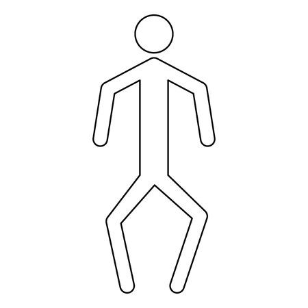 Een man met kromme benen is het zwarte kleur icoon.