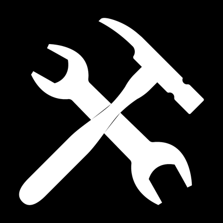toolkit: Wrench and hammer   it is the white color icon .