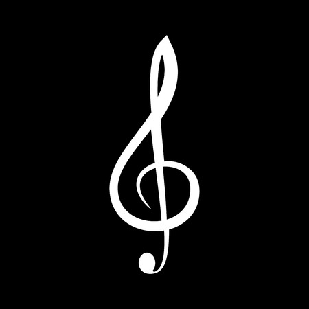 Treble clef it is the white color icon. Illustration