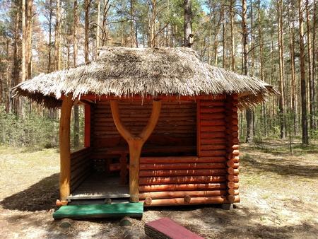 hunter's cabin: Old abandoned hunters cabin in Ukraine forest .