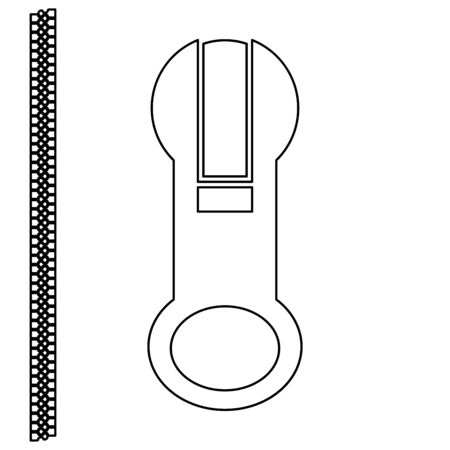 fastener: Zipper  it is the black color icon . Illustration