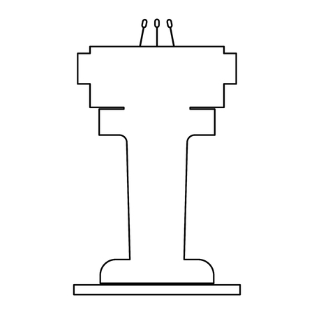 tribune: Rostrum with three microphone  it is the black color icon .
