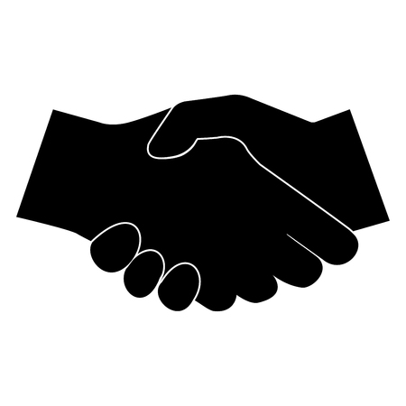 Business handshake it is the black color icon .