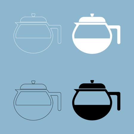 Teapot icon. it is the black and white color icon . Illustration
