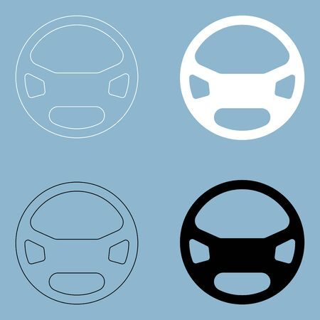 Steering wheel the black and white color icon . Ilustrace