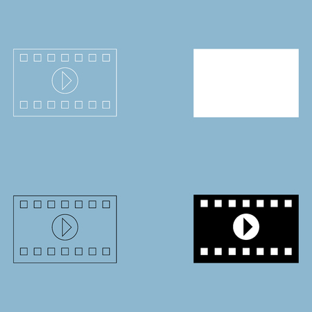 A frame from a movie the black and white color icon .
