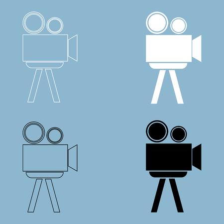 Cinematograph the black and white color icon .