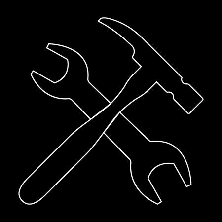 Wrench and hammer   it is the white path icon .