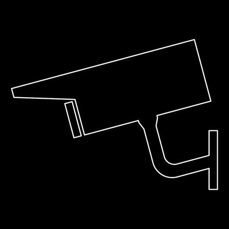 Video surveillance   it is the white path icon . Illustration