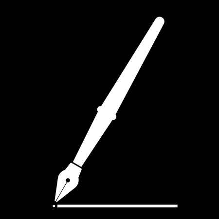 Pen it is the white color icon . Illustration