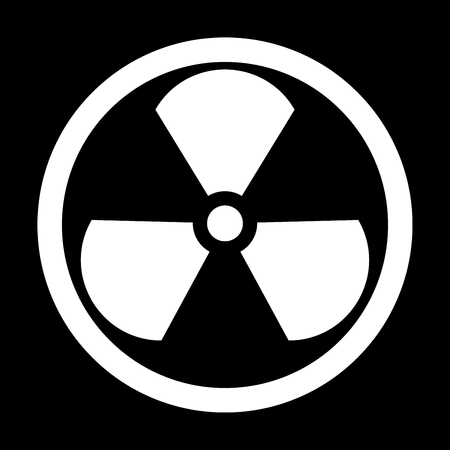 Sign radioactive it is the white color icon .
