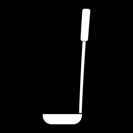 Soup ladle it is the white color icon . Illustration