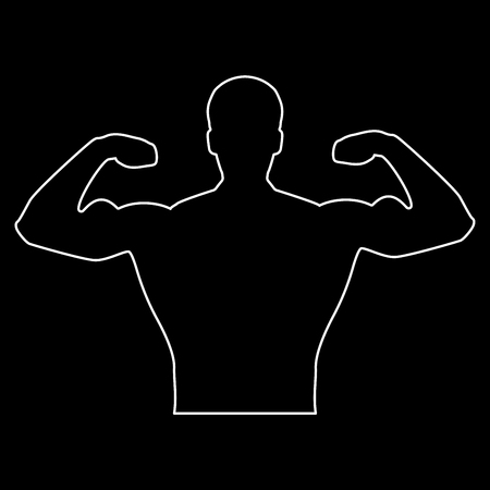 Bodybuilder it is the white path icon .