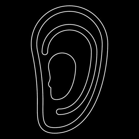 Ear c'est l'icône du chemin blanc. Banque d'images - 81571196