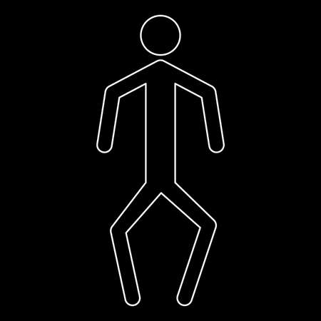 crouch: A man with crooked legs it is the white path icon .