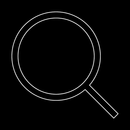 Magnifying glass or loupe it is the white path icon .
