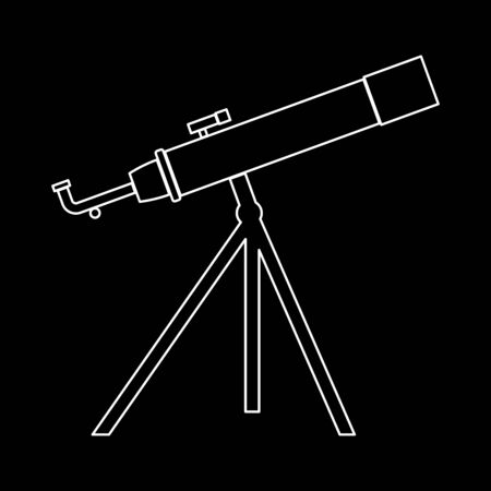 Telescope it is the white path icon . Illustration