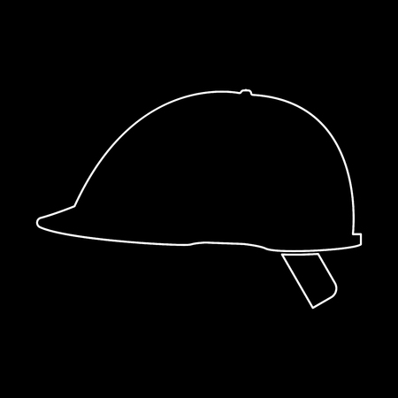 Safety helmet it is the white path icon . Illustration