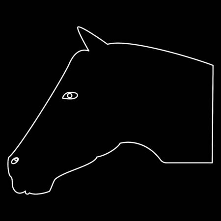 Horse head it is the white path icon . Illustration