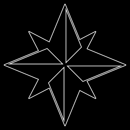 Wind rose it is the white path icon .