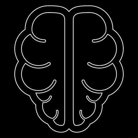Brain it is the white path icon . Illustration