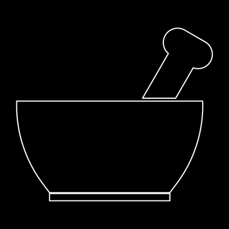 Mortar and pestle it is the white path icon .