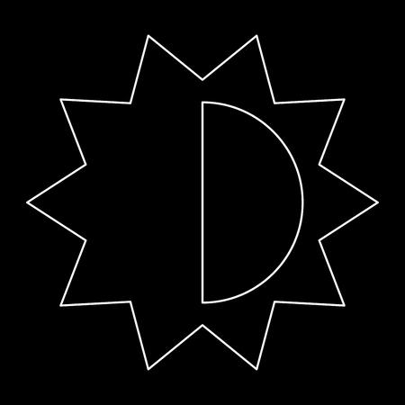 Configuração de brilho e contraste é o ícone do caminho branco. Foto de archivo - 81761992