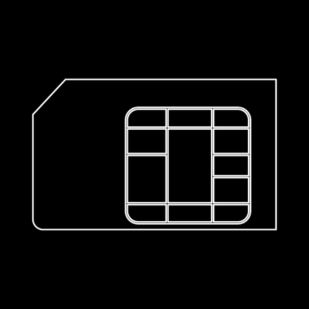 Sim card it is the white path icon . Illustration