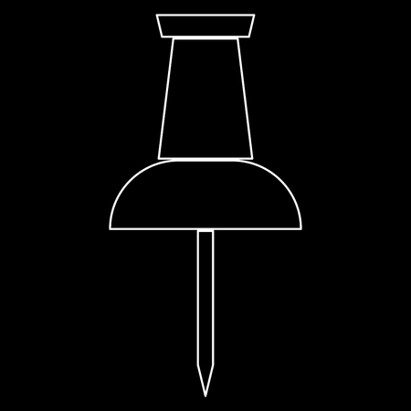 Push pin it is the white path icon . Illustration