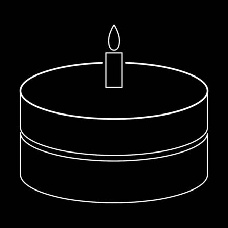 burning: Cake with candle it is the white path icon .