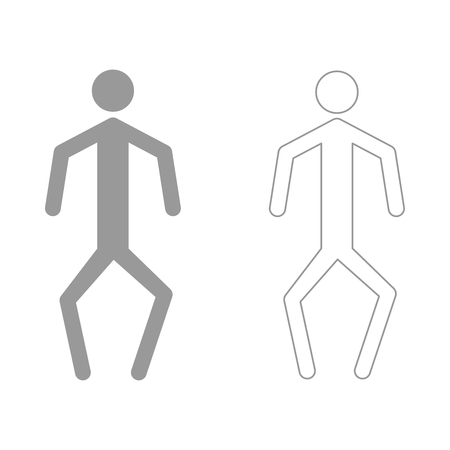 crouch: A man with crooked legs it is the grey set icon .